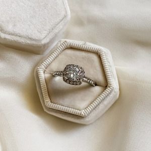 Silver Rounded Square Halo Diamond Ring